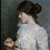 Young girl plucking the petals from a marguerite
